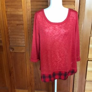 New York & Company top - Red with plaid detail - L